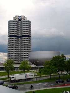 The appropriately shaped BMW building.