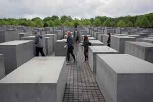 Students explore the Holocaust Memorial. (photo by Connor Mulvaney)