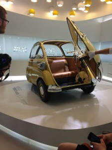 An American BWM tour guide showcases one of BMW's tiniest models.
