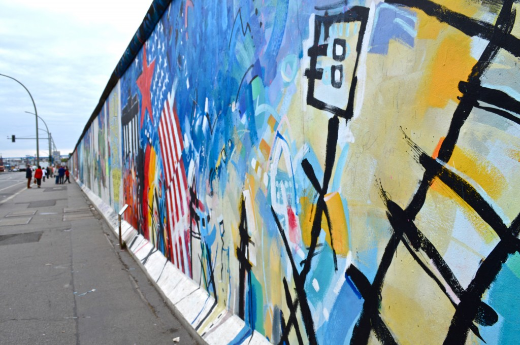 Part of the ever-changing artwork at the East Side Gallery in Berlin, where artists paint and create works on what remains of the Berlin Wall.