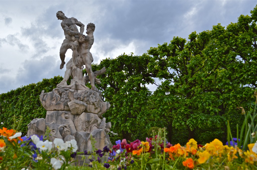 A statue of the Mirabell Gardens in Salzburg Austria.