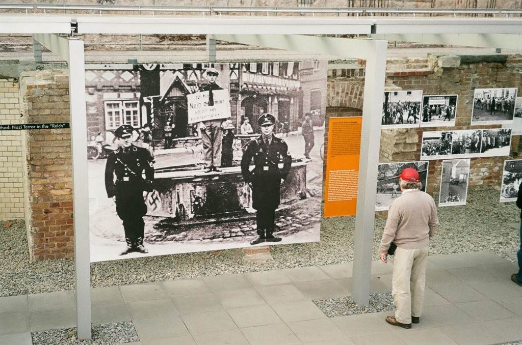 The Topography of Terror, a commemorative site in Berlin, details the Nazi Party's rise to power in 1933 through the end of the war and the Nuremberg trials. Here Professor David Fabilli views some of the public shaming Jews endured in the years leading up to the Holocaust.