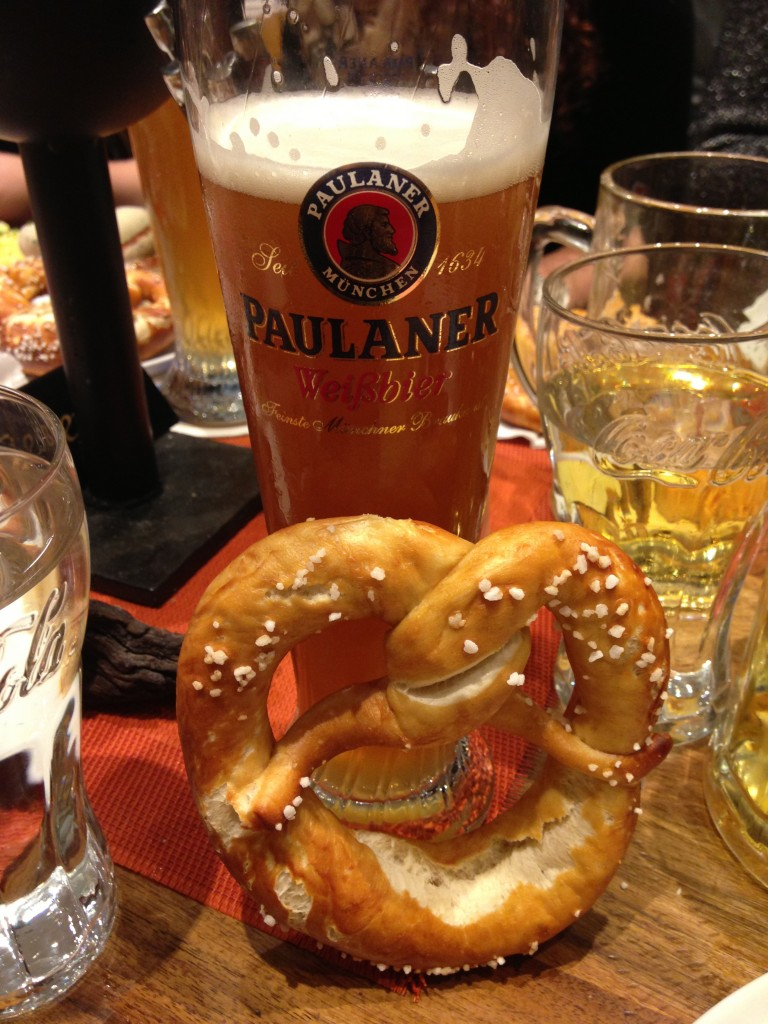 Germans frequently add beer and pretzels to meals.