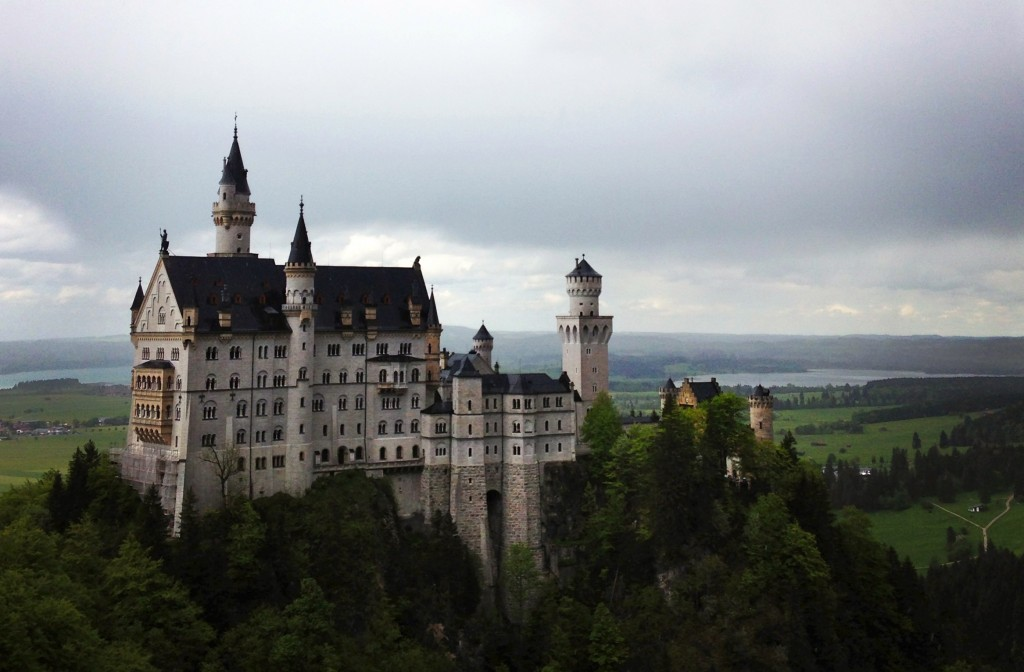 Neuschwanstein is nestled in the hills of Hohenschwangau, Bavaria.