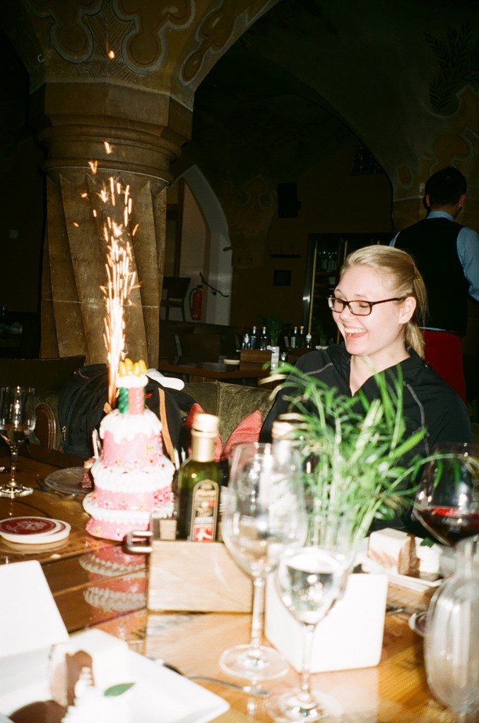 Johnie Freiwald gets a birthday surprise at the last dinner in Munich.