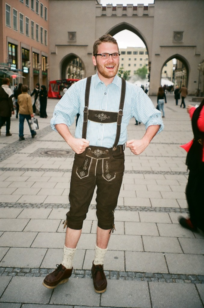 Zack Durkin in his new lederhosen, right in the midst of Munich's Marienplatz.