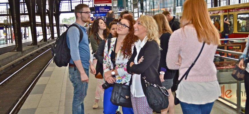 Students and faculty traveled to many destinations by public transportation. Here they wait for a train in Munich.