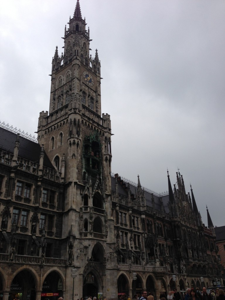 The Glockenspiel in Munich sits in the center of Marienplatz and rings every day at 5 p.m.