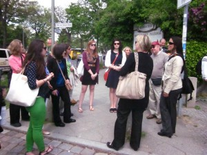 Dr. Elfriede Fürsich speaks to the group during a walking tour of Freie Universitat  (photo by Alexa Blanchard)