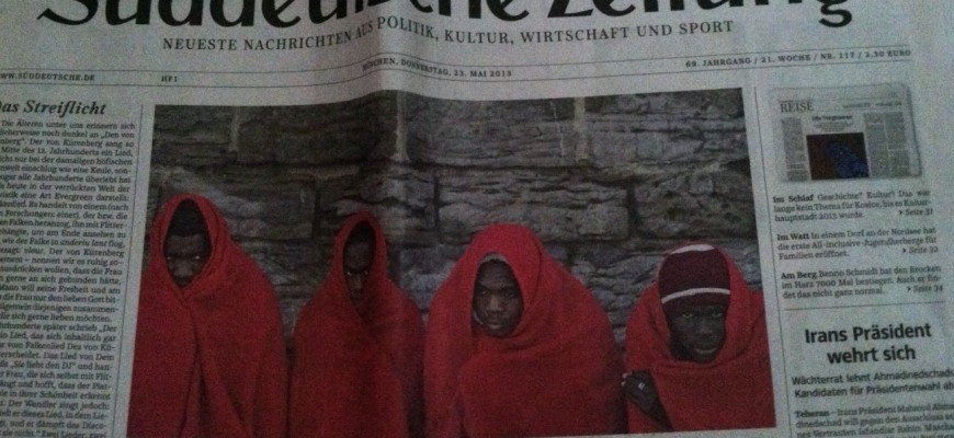 Suddeutsche Zeitung features a broadsheet layout.  (photo by Carson Allwes)